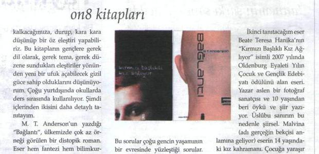 Dünya Kitap'ta Ayfer Gürdal Ünal ON8'i yazdı