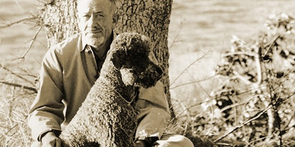 While living in Laguna Beach for three months John Steinbeck longed to have a dog, his Airedale had just died and he couldn't afford another dog just yet.......  American novelist John Steinbeck appears with his pet poodle Charley in a tranquil moment from 1961. credit: Hans Namuth/Smithsonian Institution's National Portrait Gallery.